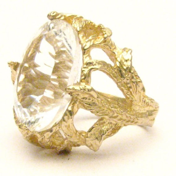 Handmade 14kt Gold Diamond Quartz Claw Gemstone Ring