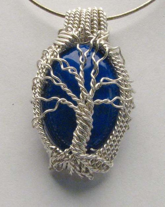 Handmade Solid Sterling Silver Wire Wrap Blue Sodalite Pendant