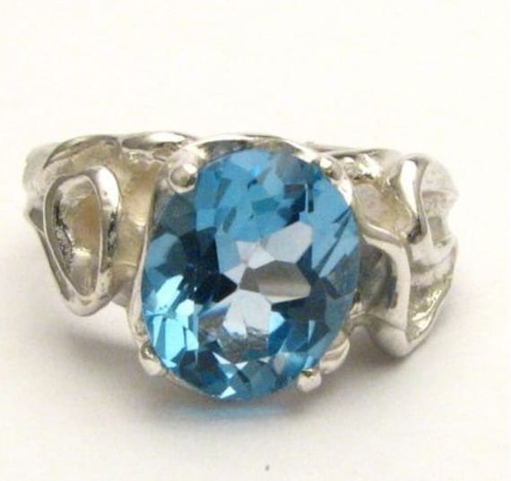 Gothic Light Sky Blue Topaz   Solid Sterling Silver Gemstone Ring 10x8mm 3 ct.   Custom Sized to fit you