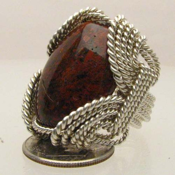 Handmade Solid Sterling Silver Wire Wrap Poppy Jasper Ring