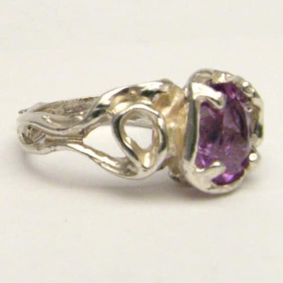 Handmade Sterling Silver Gothic Amethyst Gemstone Ring