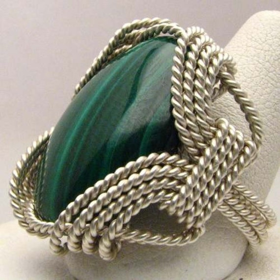 Hand Made Wire Wrap Malachite Sterling Silver Ring