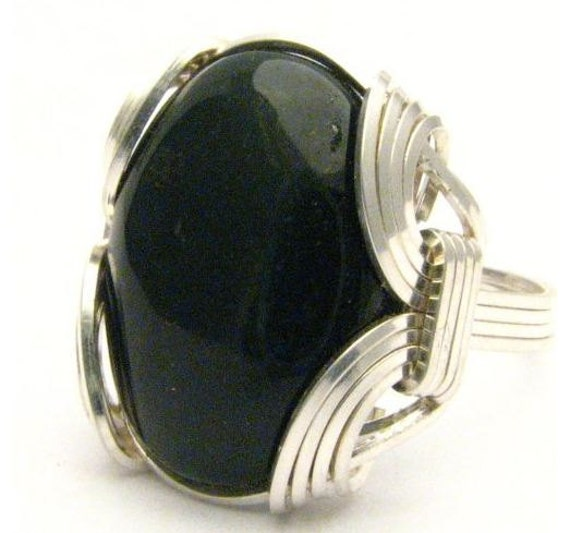 Wire Wrapped Blood Stone Gemstone Sterling Silver Ring.  Custom Sized to fit you.