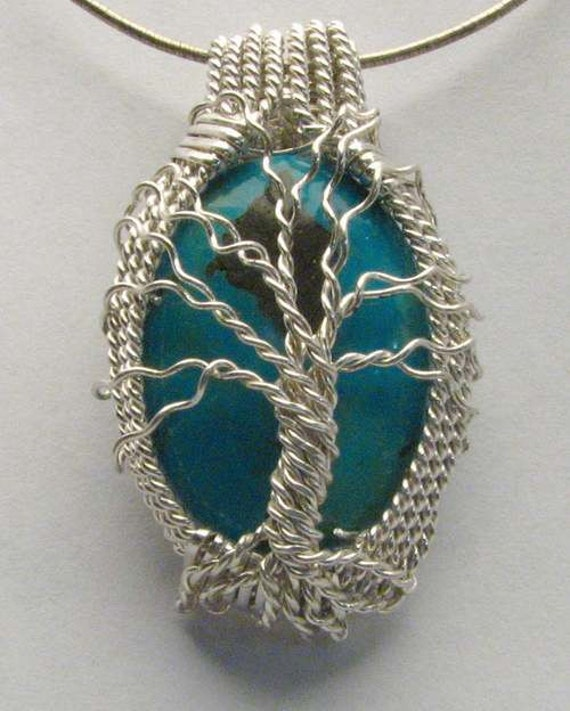 Handmade Solid Sterling Silver Wire Wrap Family Tree Turquoise Pendant