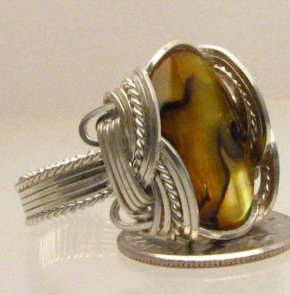 Handmade Wire Wrapped Yellow Paua Sterling Silver Ring. Custom Personalized Sizing to fit you.