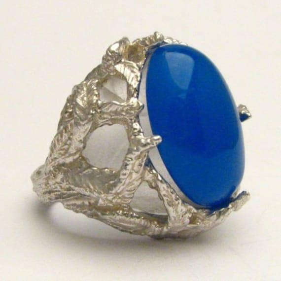 Handmade Sterling Silver Blue Onyx Cab Gemstone Ring