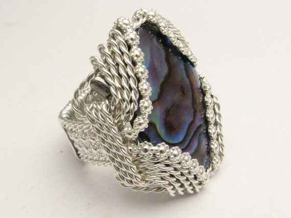 Handmade Sterling Silver Berry Wire Wrapped Vintage Abalone Shell Ring