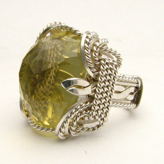 Wire Wrapped Lemon Citrine Stirling Silver Ring Available in 18x13mm (3/4x1/2inch) 25ct