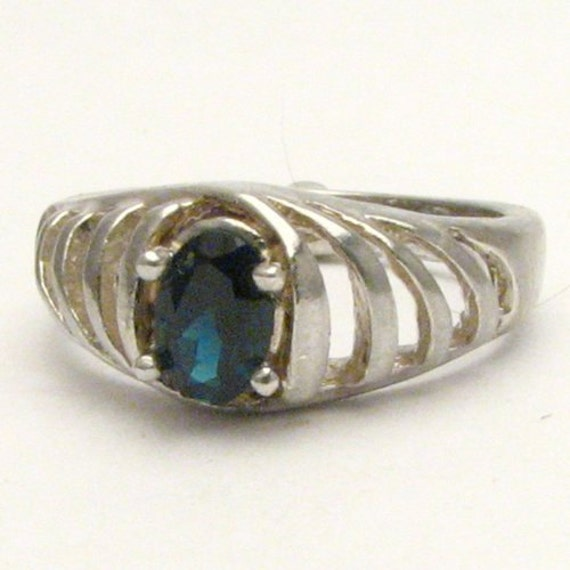 Handmade Sterling Silver Blue Tourmoline Ring