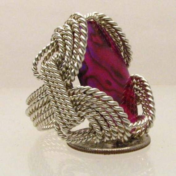 Handmade Solid Sterling Silver Wire Wrap Red Paua Shell Ring