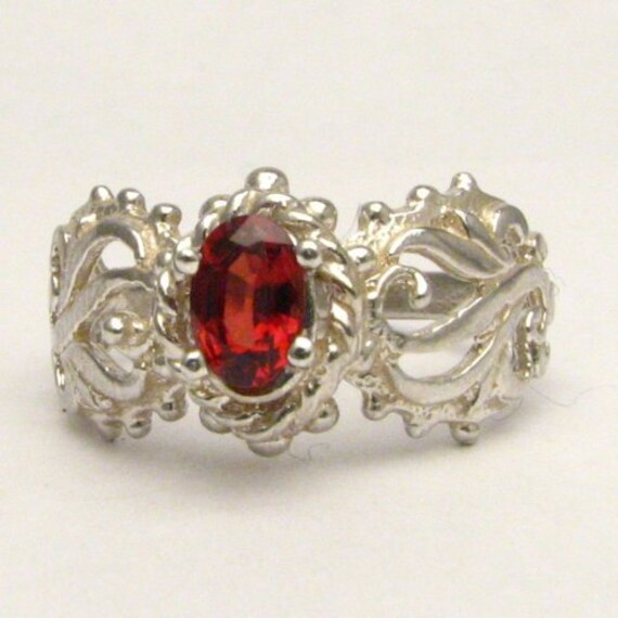 Handmade Solid Sterling Silver Spinel Filigree Ring