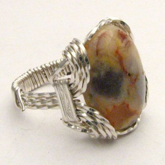 Wire Wrapped Natural Colors Crazy Lace Agate Sterling Silver Ring Gemstone.  Custom Sized to fit you.