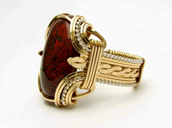 Victorian Wire Wrapped Ring Two Tone Ring Sterling Silver/14kt Gold Filled Ring Poppy Jasper Ring