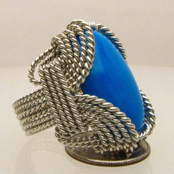 Handmade Sterling Silver Wire Wrap Howlite Dyed Turquoise Cabochon Ring