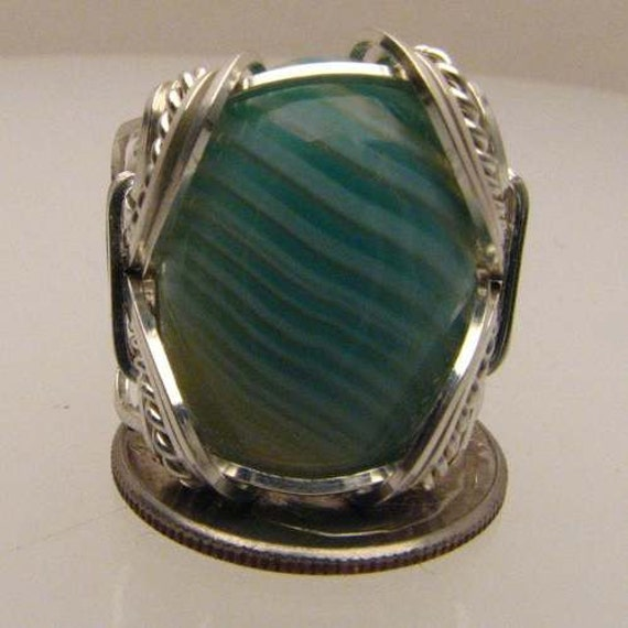 Handmade Solid Sterling Silver Wire Wrap Green/White Sardonyx Ring