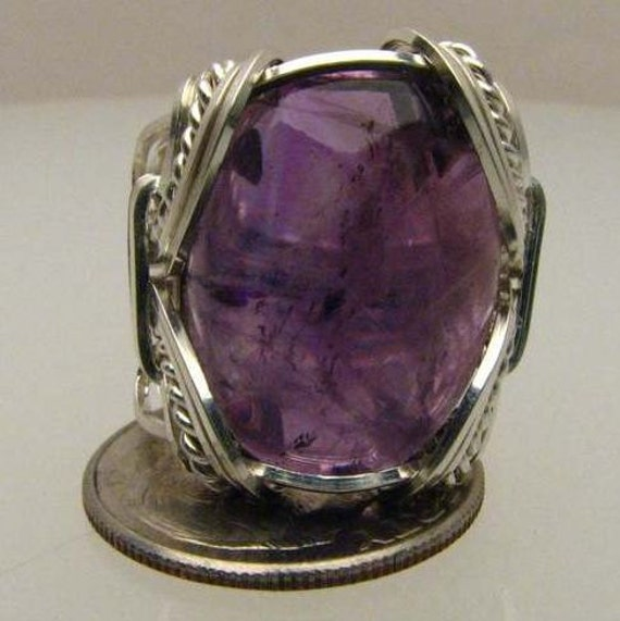 Handmade Sterling Silver Wire Wrap Amethyst  Ring.  Custom personalized sizing to fit you.