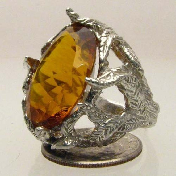 Handmade Sterling Silver Madeira Citrine Faceted Stone Ring