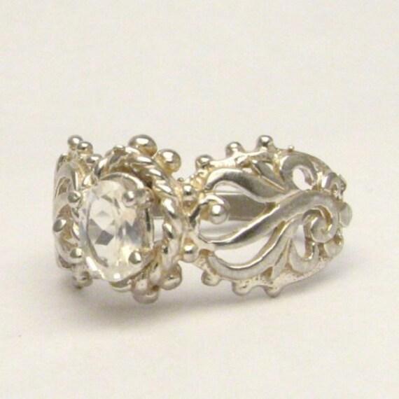 Sterling Silver Moonstone Filigree Ring Gemstone Ring