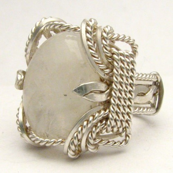Handmade Sterling Silver Wire Wrap Rainbow Moonstone Ring