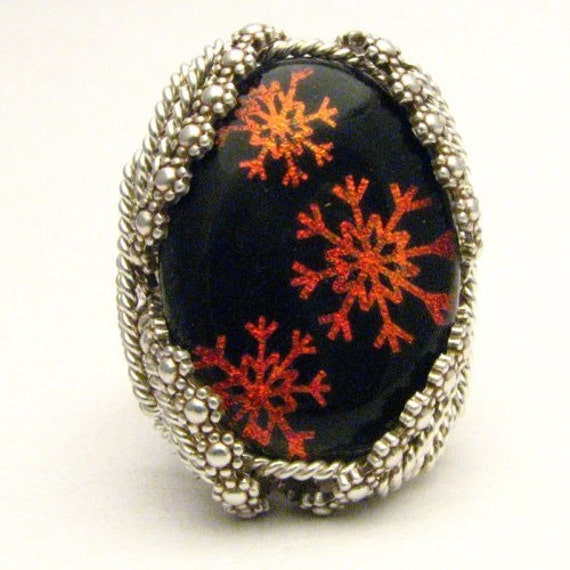 Handmade Sterling Silver Berry Wire Wrap Orange Snowflake Dichroic Glass Ring