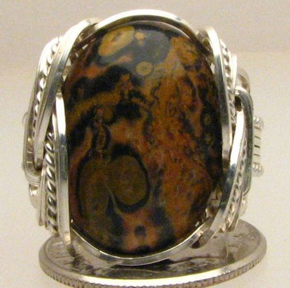 Handmade Wire Wrapped Leopard Skin Agate Sterling Silver Ring. Custom Personalized Sizing to fit you.