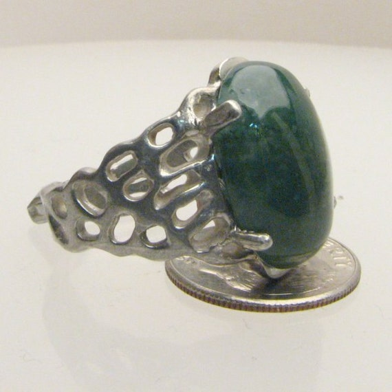 Handmade Sterling Silver Green Moss Agate Lava Ring