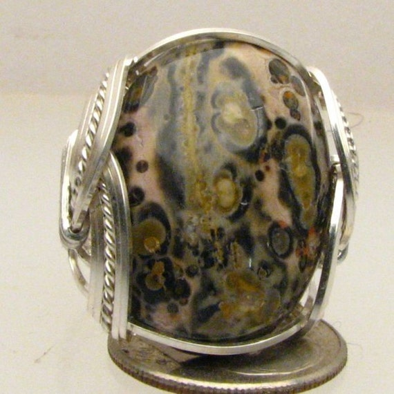 Handmade Sterling Silver Leopard Skin Agate Ring
