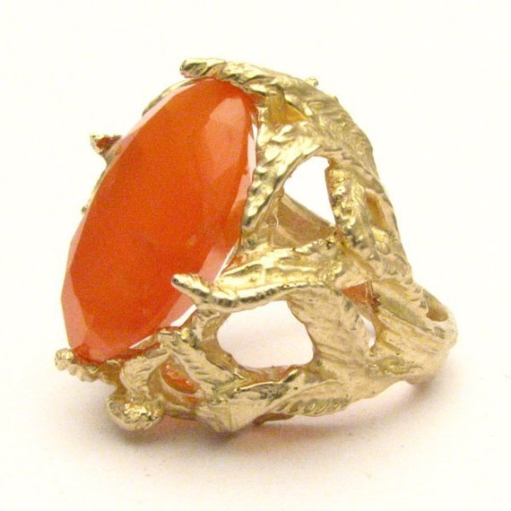 Handmade 14kt Gold Faceted Carnelian Claw Ring