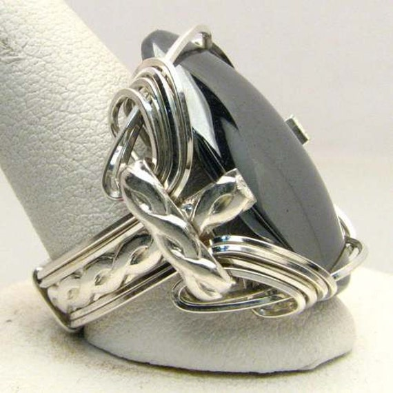 Wire Wrapped Hematite Ring Handmade Sterling Silver Wire Wrapped Genuine Hematite Cabochon Ring