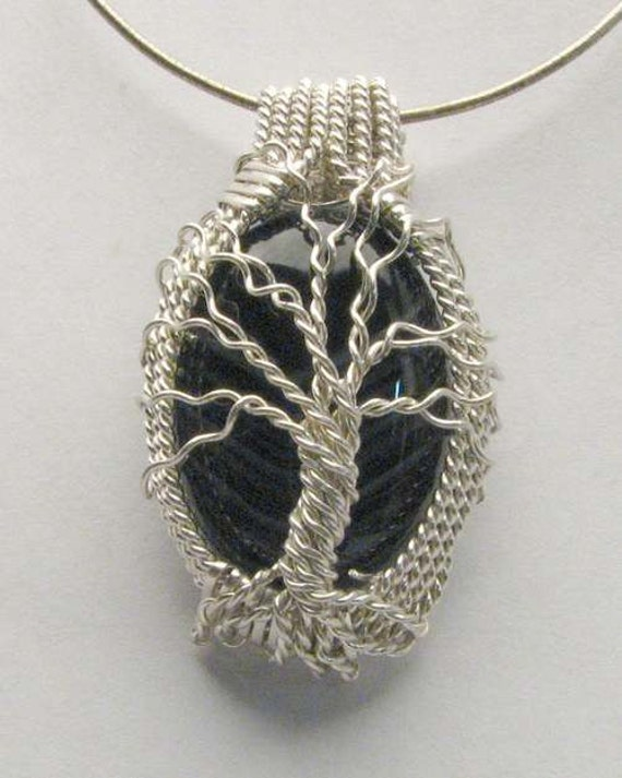 Handmade Solid Sterling Silver Wire Wrap Tree of Life Goldstone Pendant