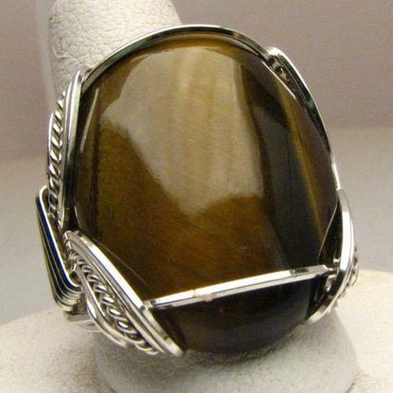 Handmade Wire Wrapped Tiger Eye Malachite Sterling Silver Ring.  Custom Personalized Sizing to fit you.