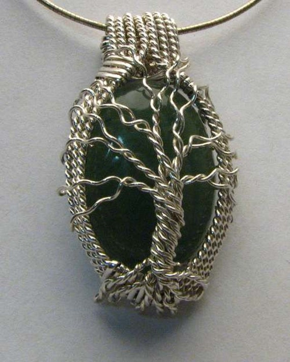 Handmade Solid Sterling Silver Wire Wrap Green Onyx Cabochon Pendant