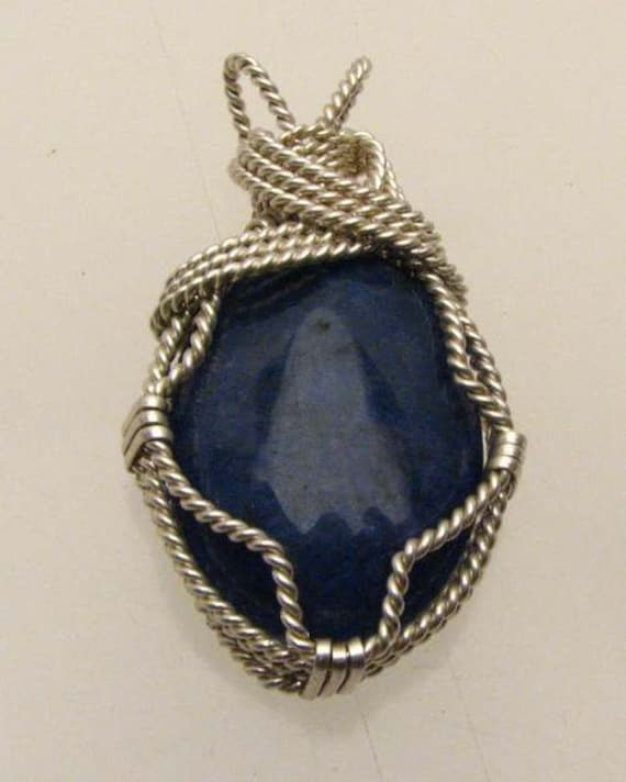 Handmade Solid Sterling Silver Wire Wrap Blue Sodalite Cabochon Pendant