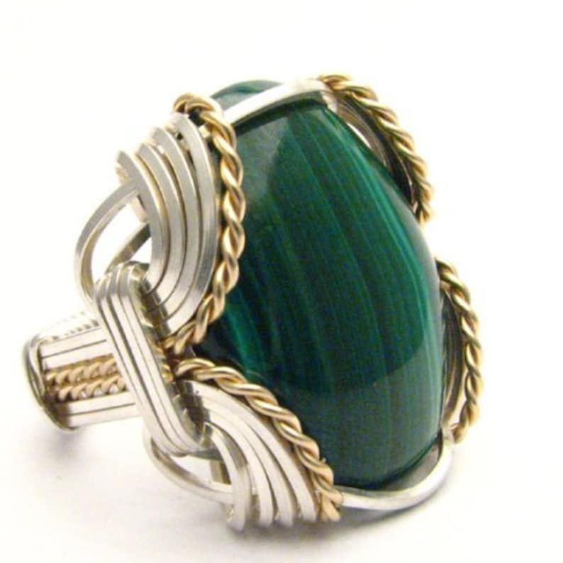 Handmade Wire Wrap Two Tone Sterling Silver14kt Gold Filled Malachite Cabochon Ring