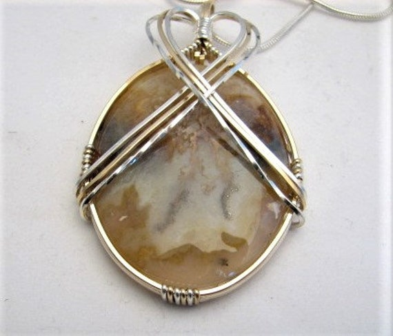Wire Wrapped Agate Pendant 14kt Yellow Gold Filled Sterling Silver Unique Handmade Cabochon Pendant October Birthstone