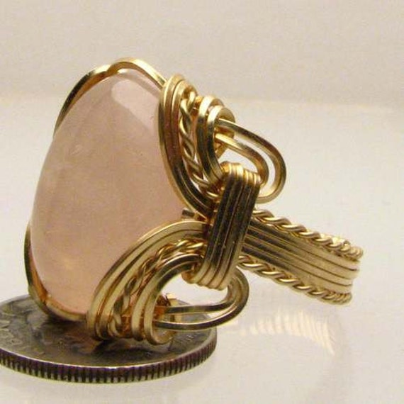 Handmade Solid 14kt Gold Wire Wrap Rose Quartz Cabochon Ring