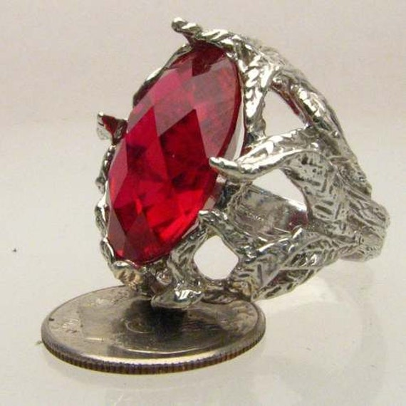 Handmade Sterling Silver Checkerboard Cut Man Mad Ruby Stone Gemstone Ring