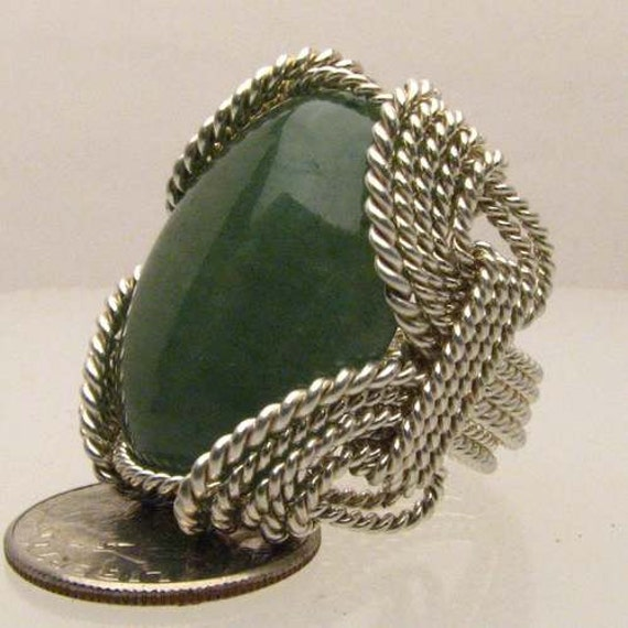 Handmade Solid Sterling Silver Wire Wrap Green Moss Agate Cabochon Ring