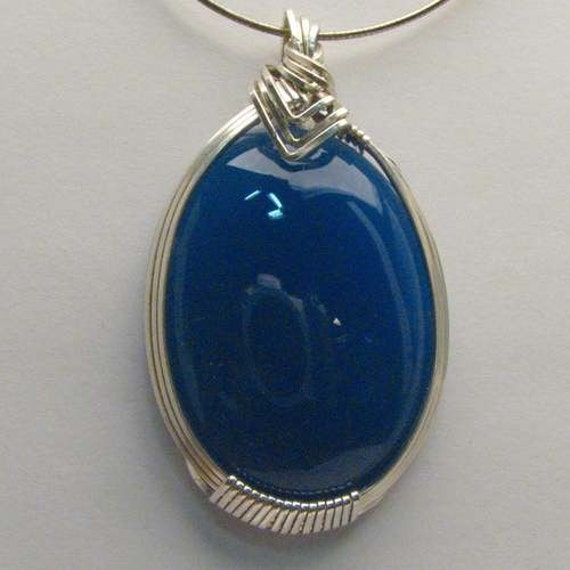 Handmade Solid Sterling Silver Wire Wrap Blue Onyx Pendant