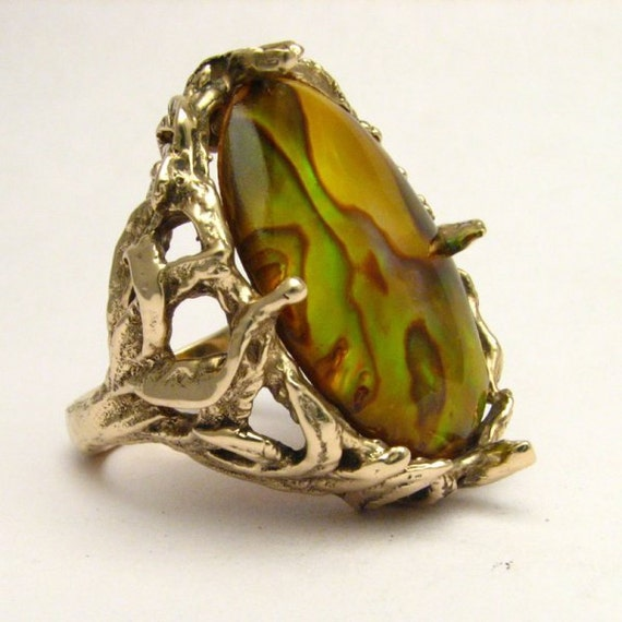 Handmade 14kt Gold Gold Paua Shell Massive Claw Ring