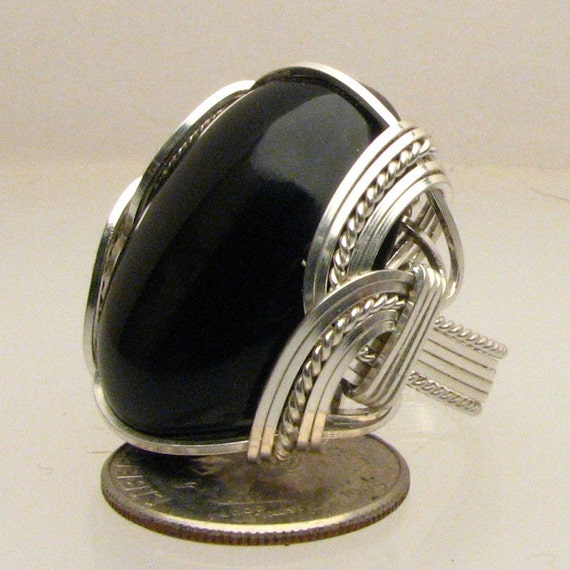 Black Onyx Ring Wire Wrap Cabocnon Sterling Silver 25x18mm 1x3/4in or18x13mm 3/4x12in