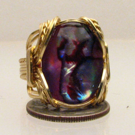Handmade 14kt Gold Filled Wire Wrapped Red Paua Shell Ring
