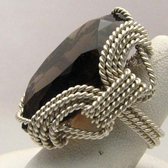Handmade Sterling Silver Wire Wrap Marques Cut Smoky Quartz Ring