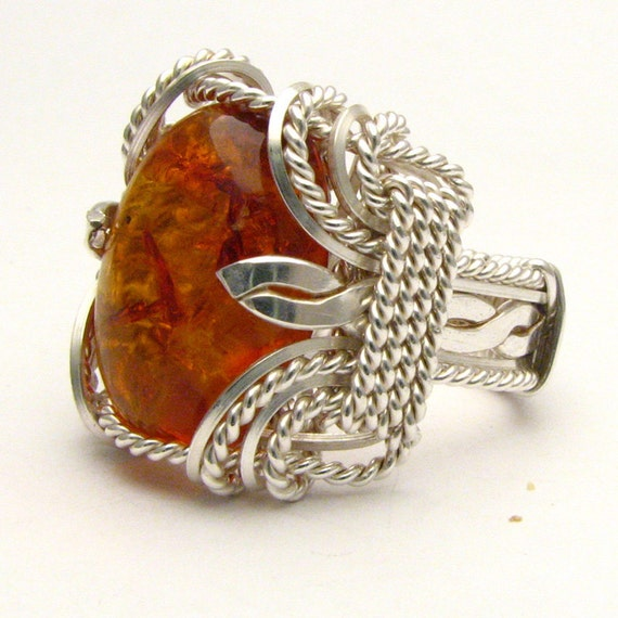 Wire Wrapped Amber Stirling Silver Ring Available in 18x13mm (3/4x1/2inch) 10 plus ct