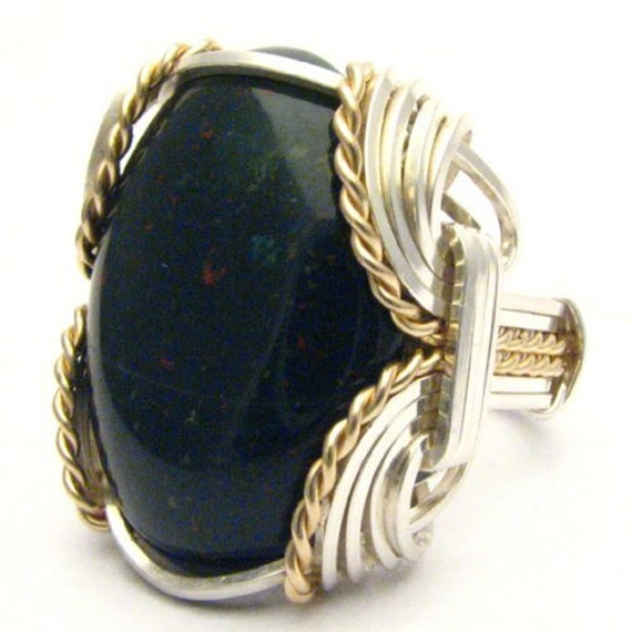 Handmade Wire Wrap Sterling Silver/14kt Gold Filled Bloodstone Ring