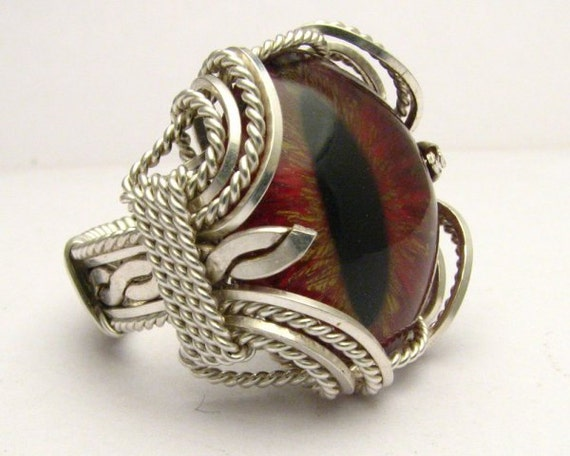 Handmade Sterling Silver Wire Wrap Gothic Steampunk Dragon Eye 3D Hand Painted Ring