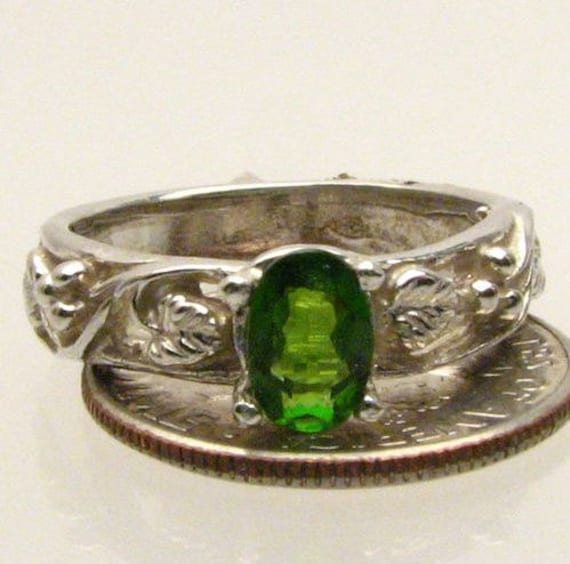 Dark Green New Chrome Diopside Solid Design Band Sterling Silver Gemstone Ring.  Custom Sized to fit you.