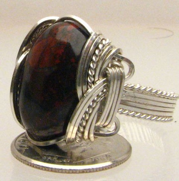 Handmade Wire Wrapped Poppy Jasper Red Sterling Silver Ring. Custom Personalized Sizing to fit you.
