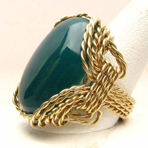 Handmade 14kt Gold Filled Wire Wrap Green Onyx Ring