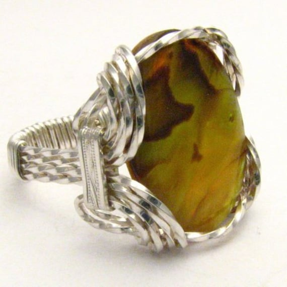 Handmade Sterling Silver Wire Wrap Gold Paua Shell Ring